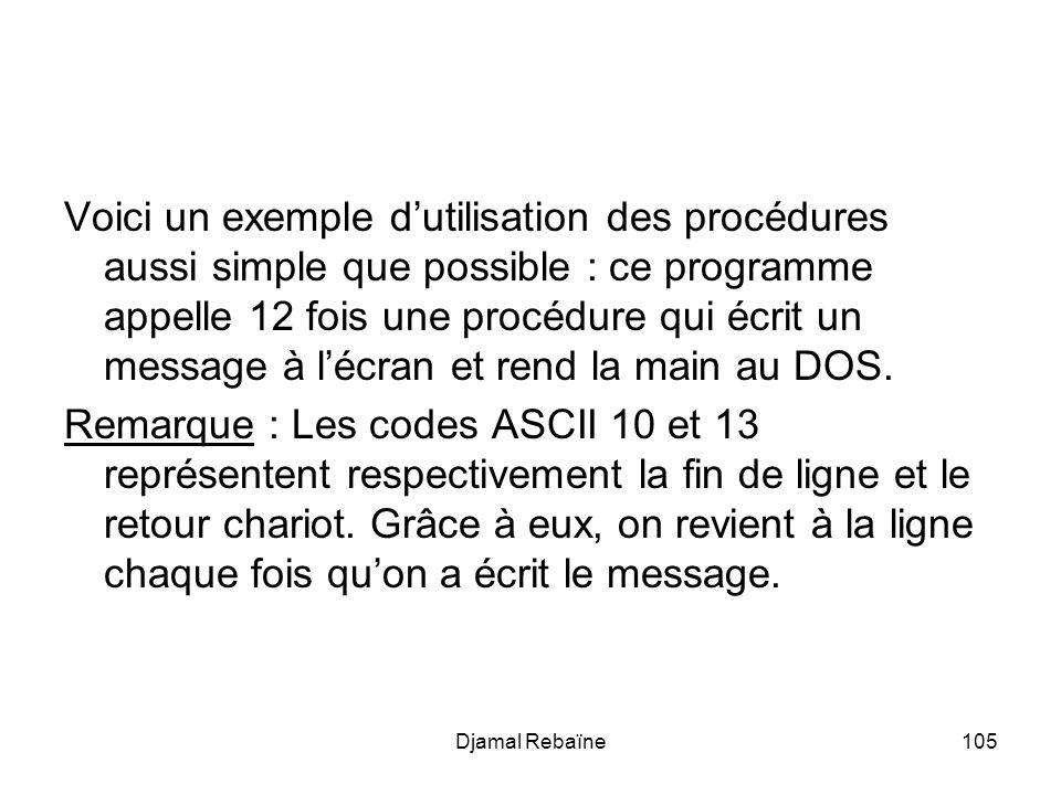Voici un exemple d'utilisation des procédures aussi simple que possible : ce programme appelle 12 fois une procédure qui écrit un message à l'écran et rend la main au DOS.