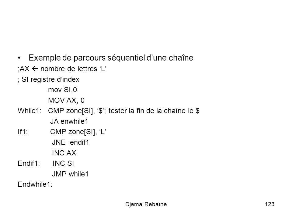 Exemple de parcours séquentiel d'une chaîne