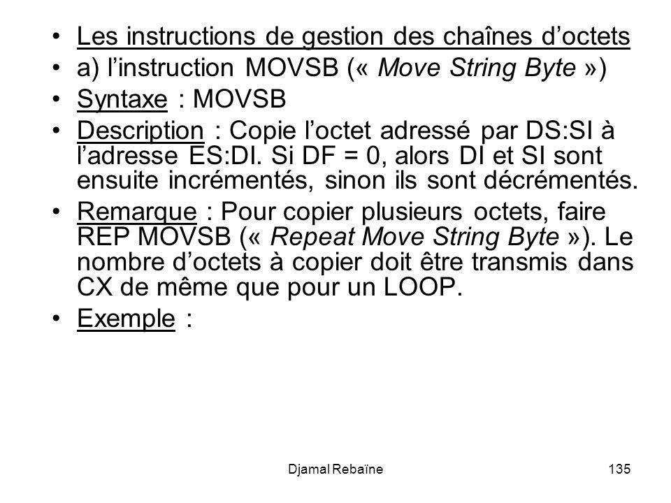 Les instructions de gestion des chaînes d'octets