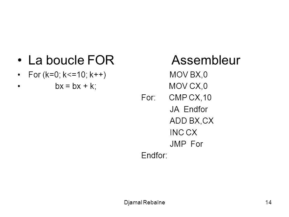La boucle FOR Assembleur