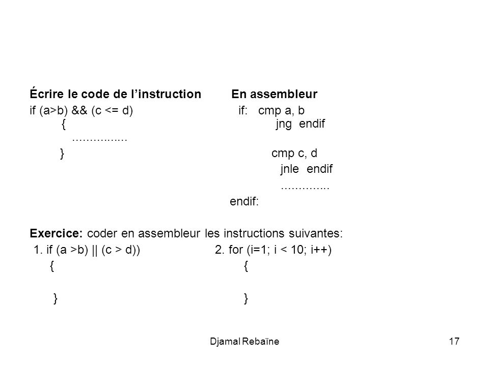 Écrire le code de l'instruction En assembleur