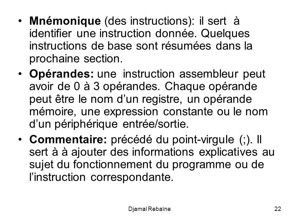 Mnémonique (des instructions): il sert à identifier une instruction donnée. Quelques instructions de base sont résumées dans la prochaine section.