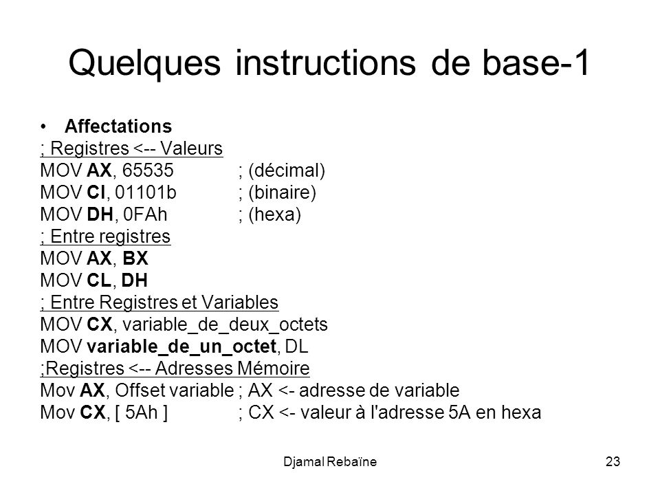 Quelques instructions de base-1