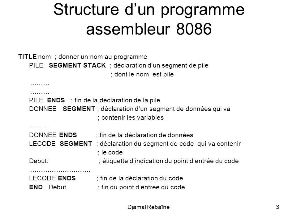 Structure d'un programme assembleur 8086