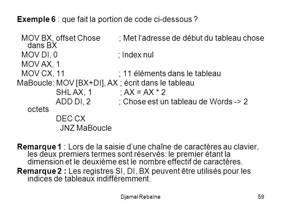 Exemple 6 : que fait la portion de code ci-dessous