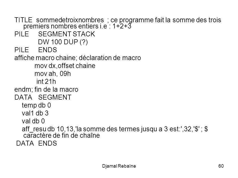 affiche macro chaine; déclaration de macro mov dx,offset chaine