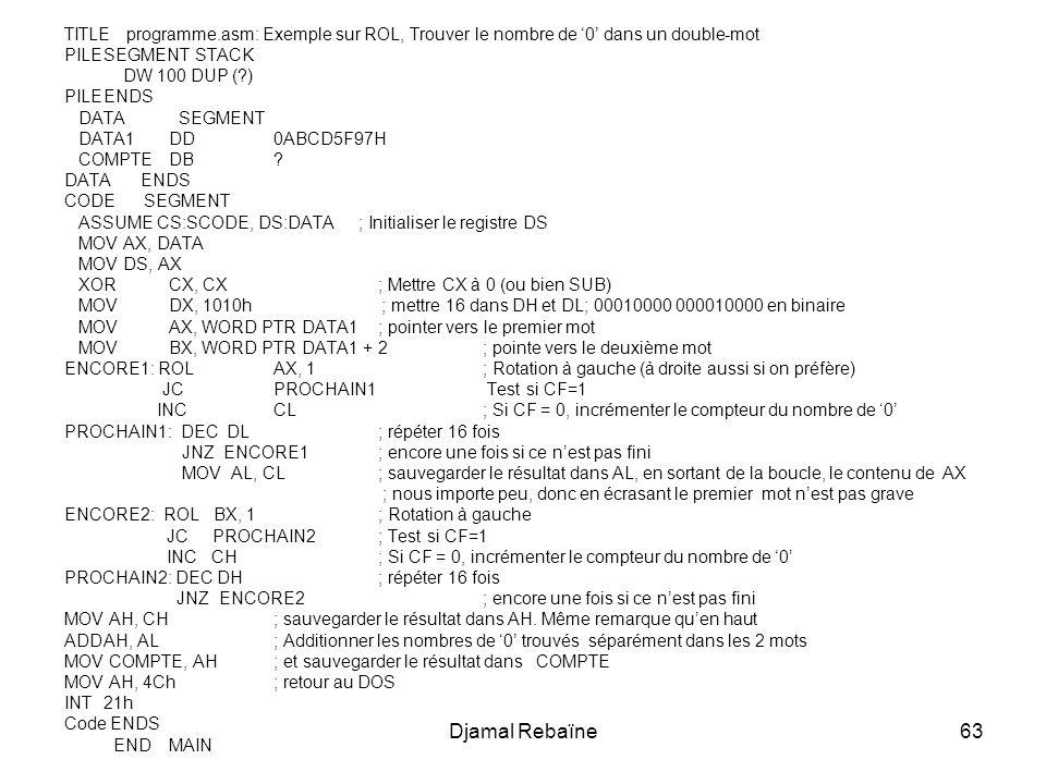 TITLE programme.asm: Exemple sur ROL, Trouver le nombre de '0' dans un double-mot