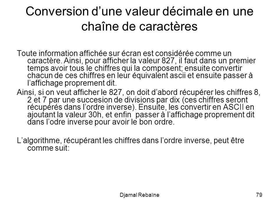 Conversion d'une valeur décimale en une chaîne de caractères