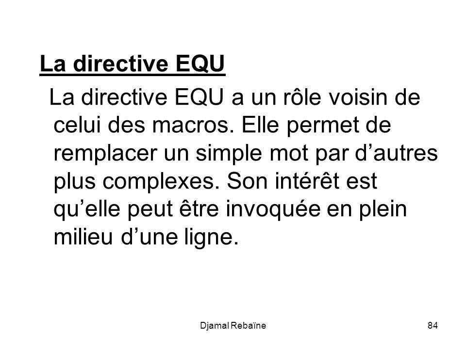 La directive EQU