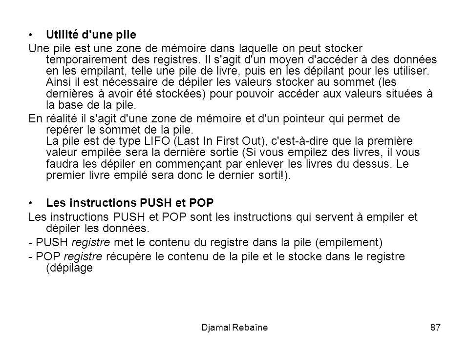Les instructions PUSH et POP