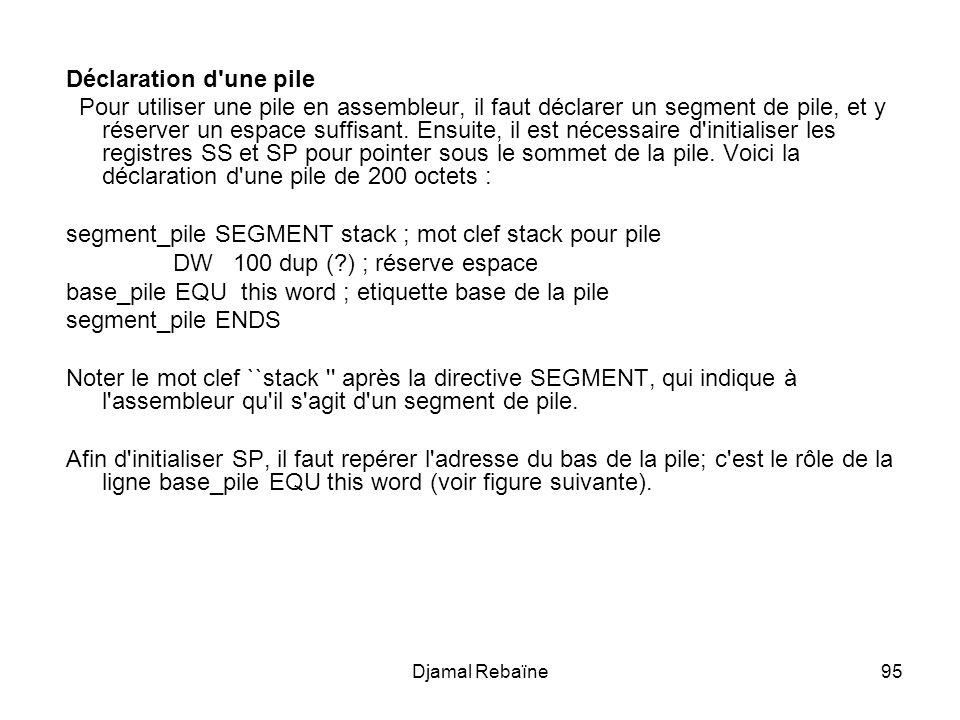 segment_pile SEGMENT stack ; mot clef stack pour pile