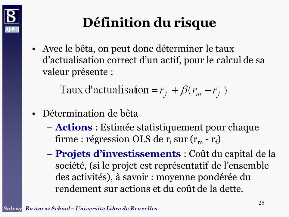 Définition du risque Avec le bêta, on peut donc déterminer le taux d'actualisation correct d'un actif, pour le calcul de sa valeur présente :