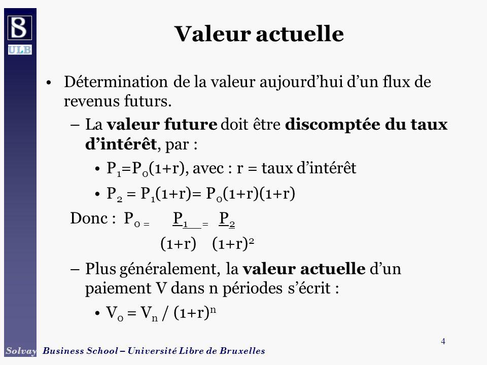 Valeur actuelle Détermination de la valeur aujourd'hui d'un flux de revenus futurs. La valeur future doit être discomptée du taux d'intérêt, par :