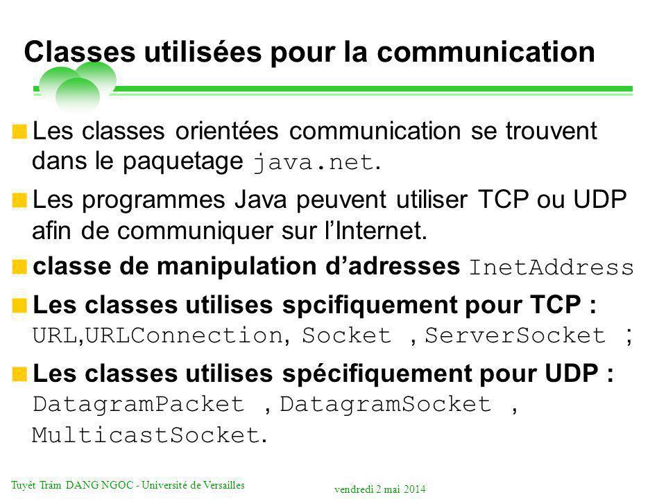 Classes utilisées pour la communication