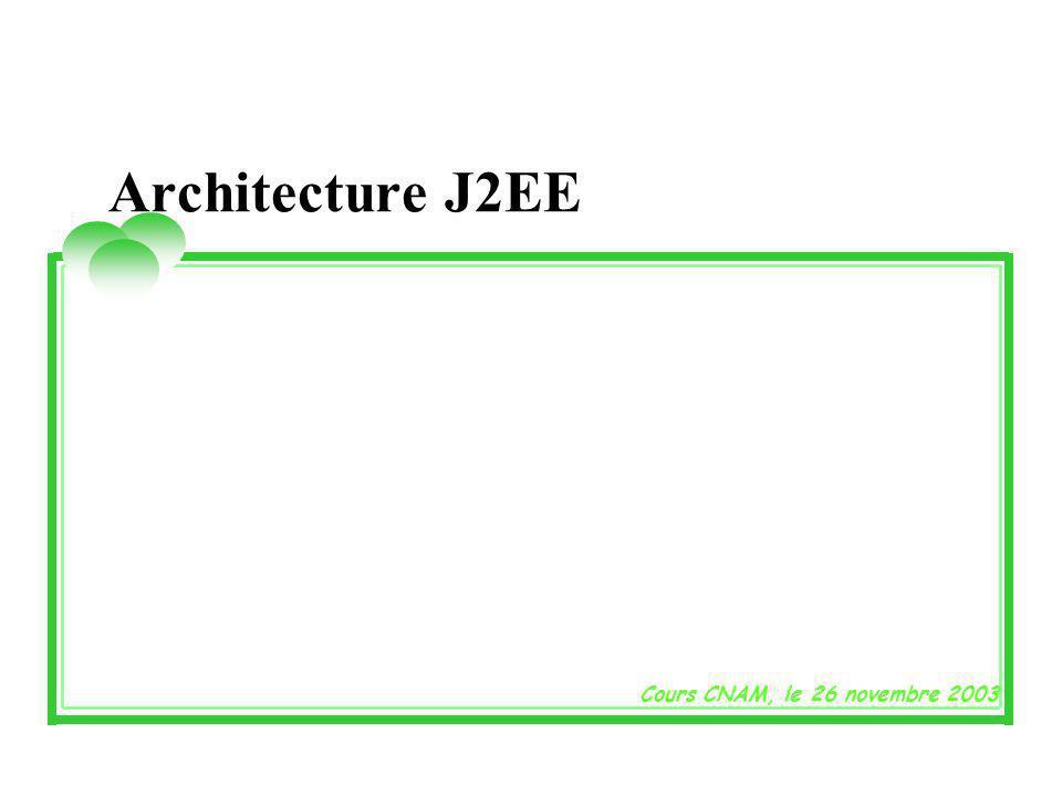 Architecture J2EE Cours CNAM, le 26 novembre 2003