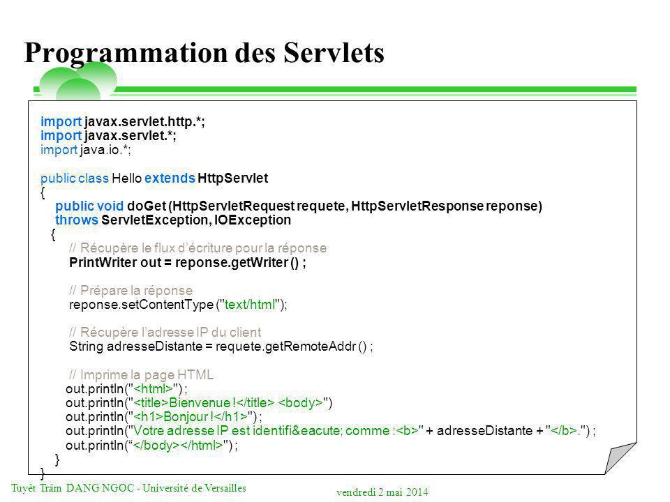 Programmation des Servlets