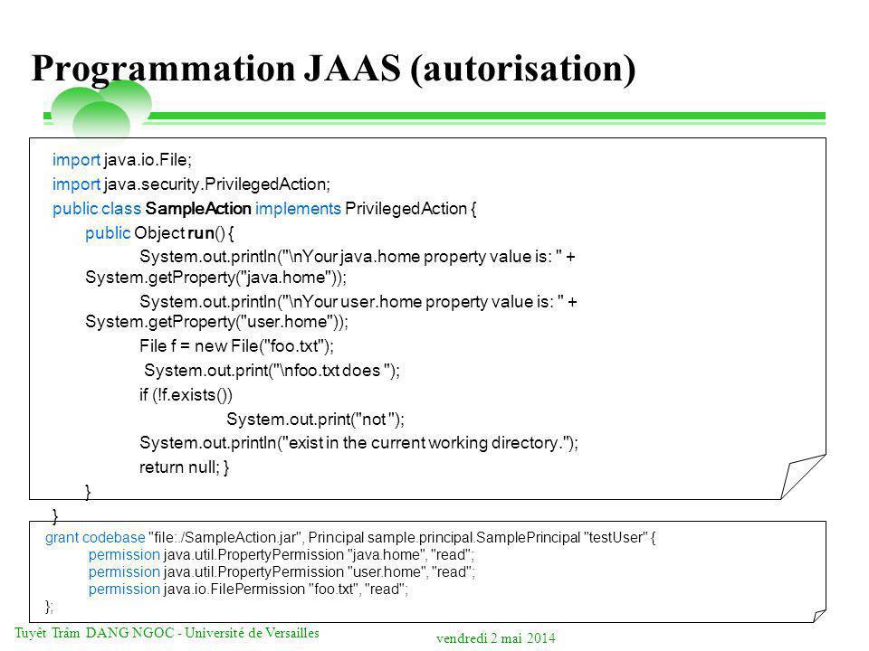 Programmation JAAS (autorisation)