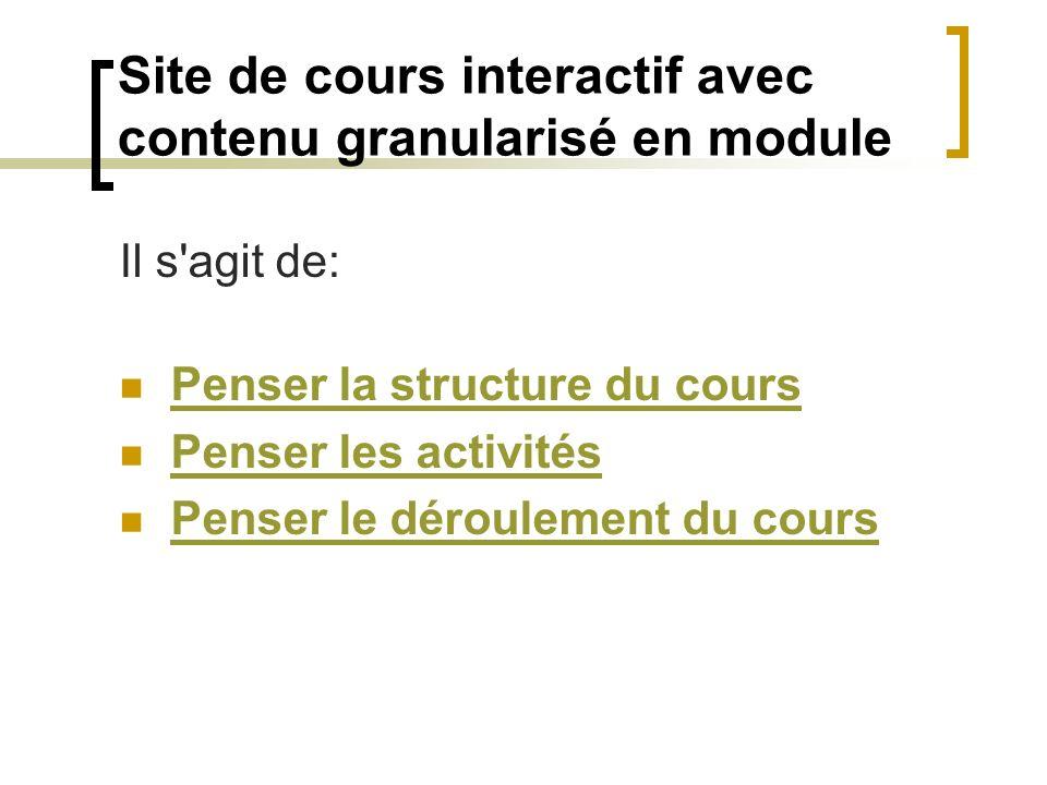 Site de cours interactif avec contenu granularisé en module