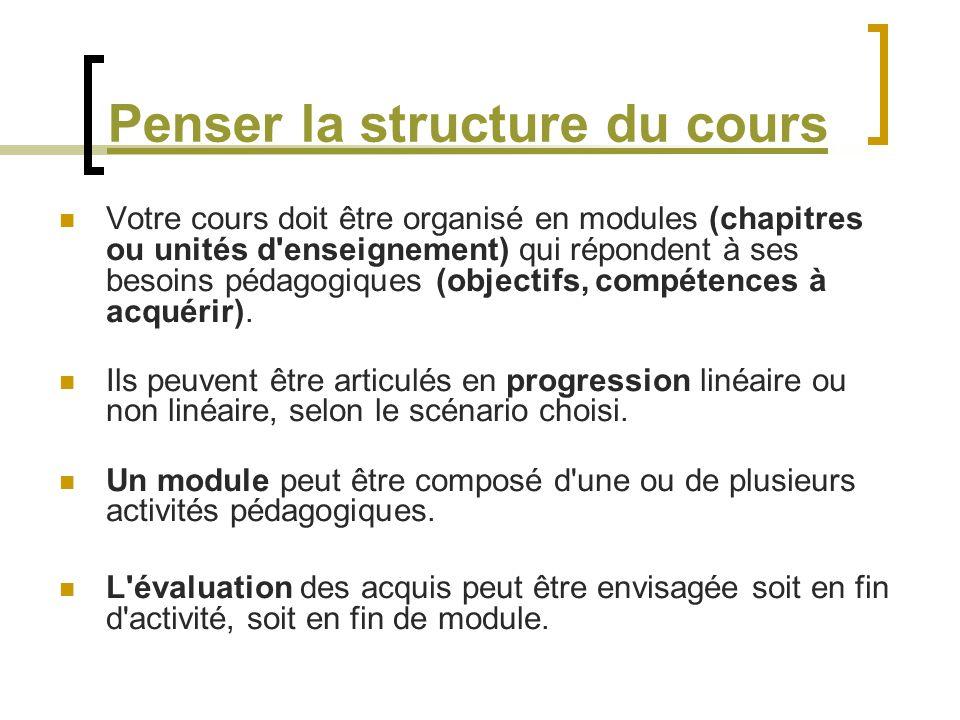 Penser la structure du cours