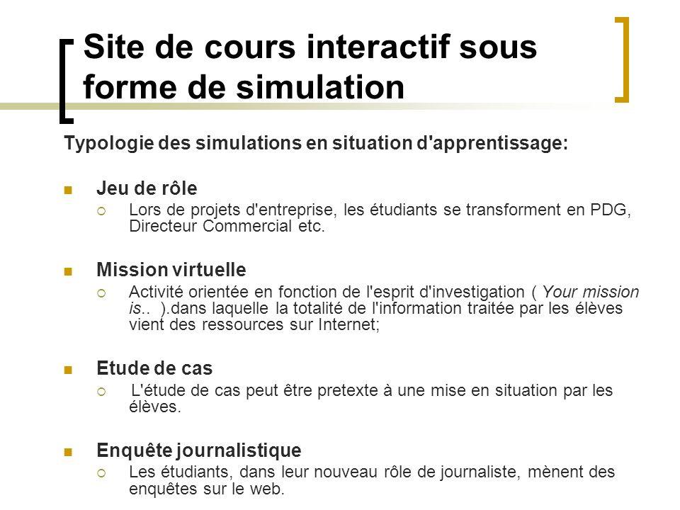 Site de cours interactif sous forme de simulation