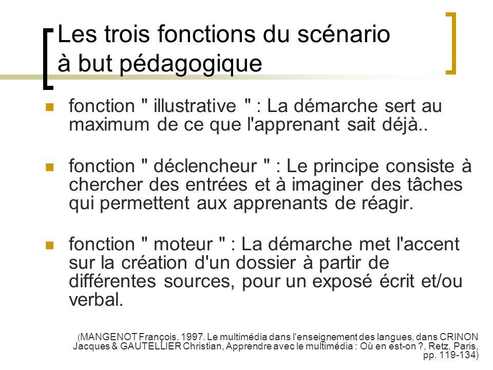 Les trois fonctions du scénario à but pédagogique