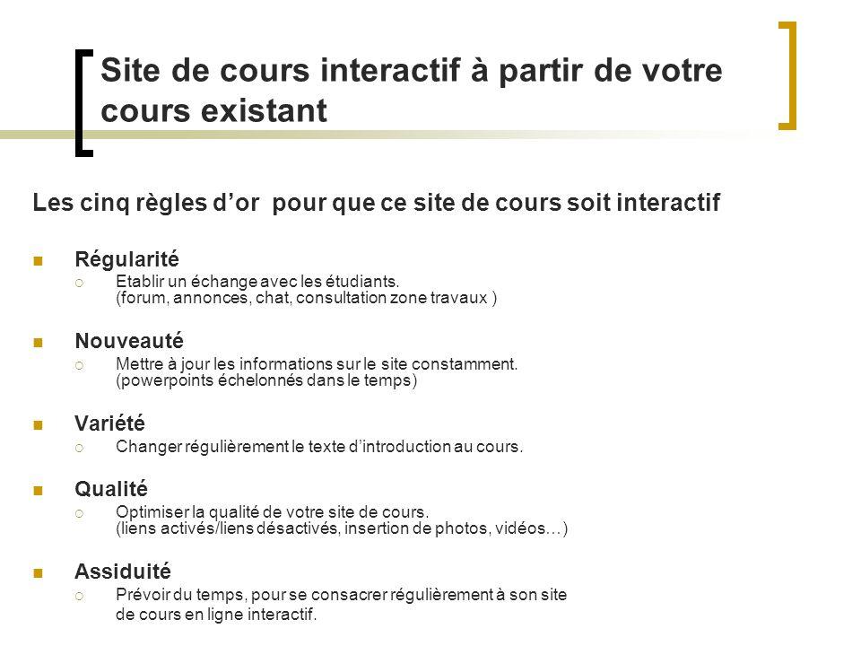 Site de cours interactif à partir de votre cours existant