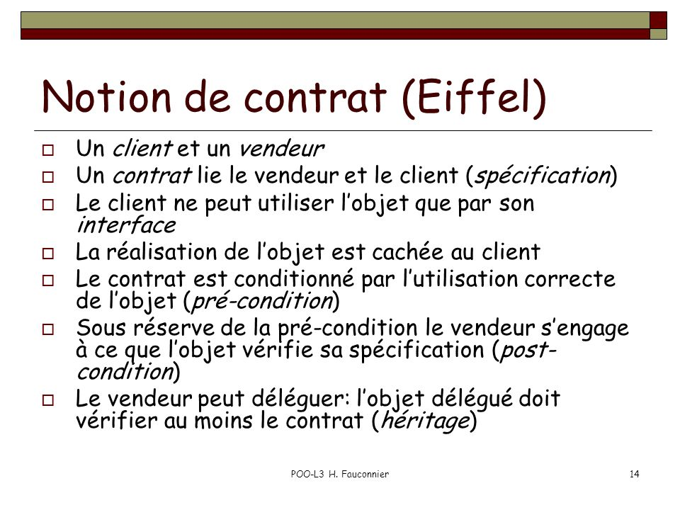Notion de contrat (Eiffel)