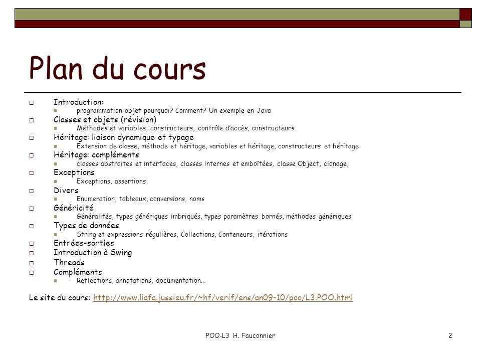 Plan du cours Introduction: Classes et objets (révision)
