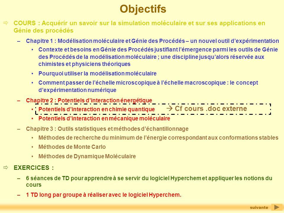 Objectifs  Cf cours .doc externe