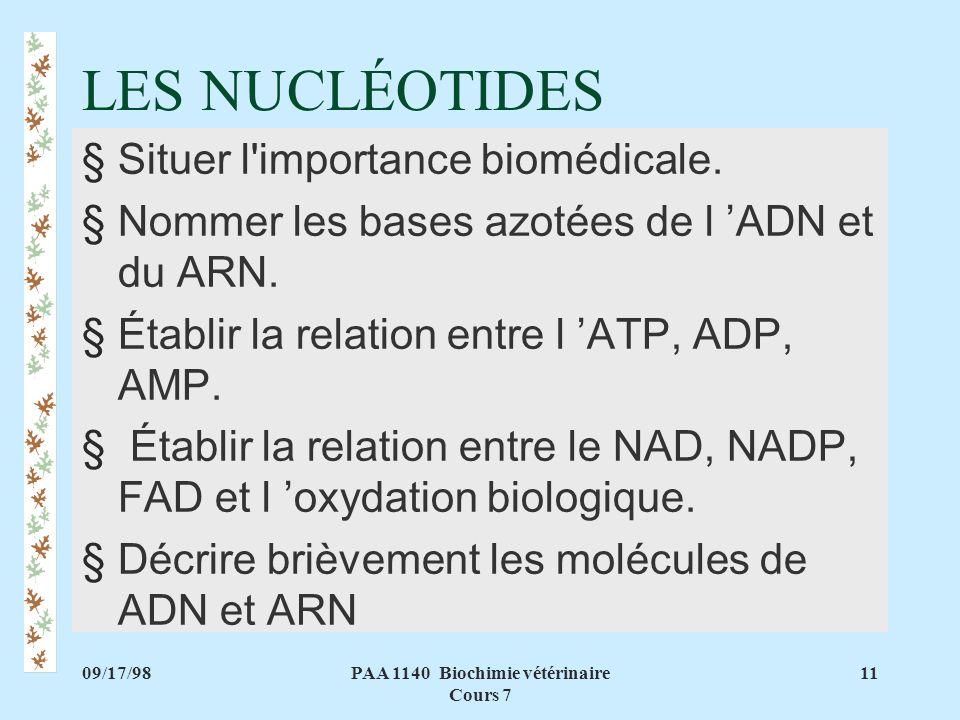 PAA 1140 Biochimie vétérinaire Cours 7