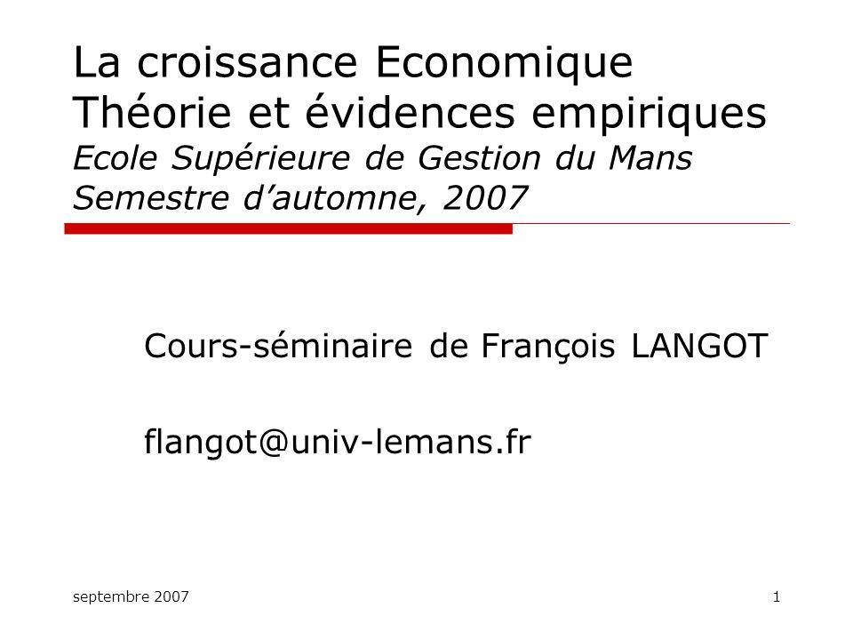 Cours-séminaire de François LANGOT flangot@univ-lemans.fr