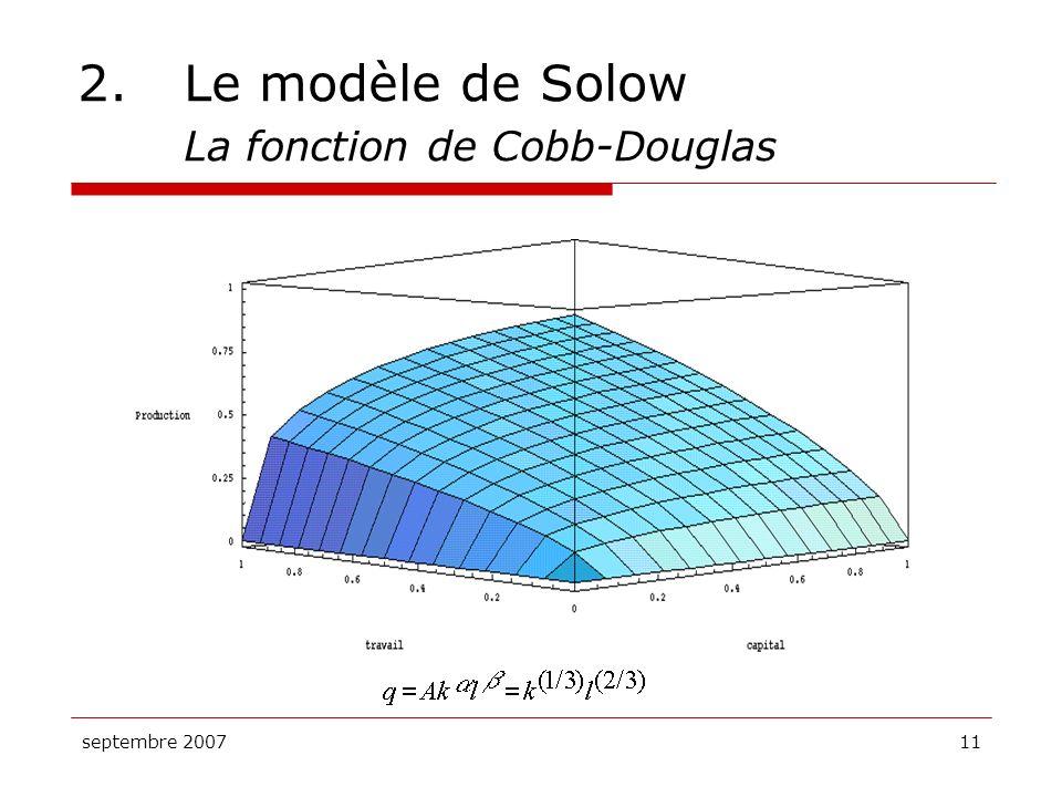 2. Le modèle de Solow La fonction de Cobb-Douglas