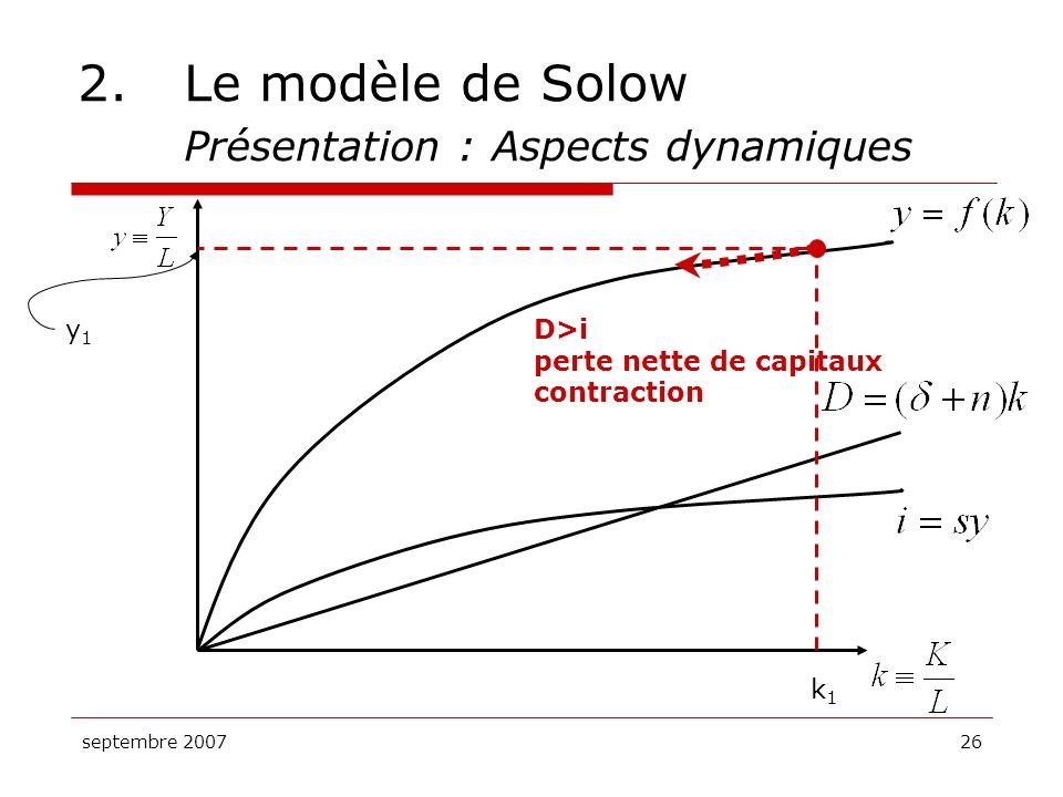 2. Le modèle de Solow Présentation : Aspects dynamiques