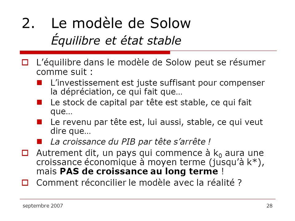 2. Le modèle de Solow Équilibre et état stable