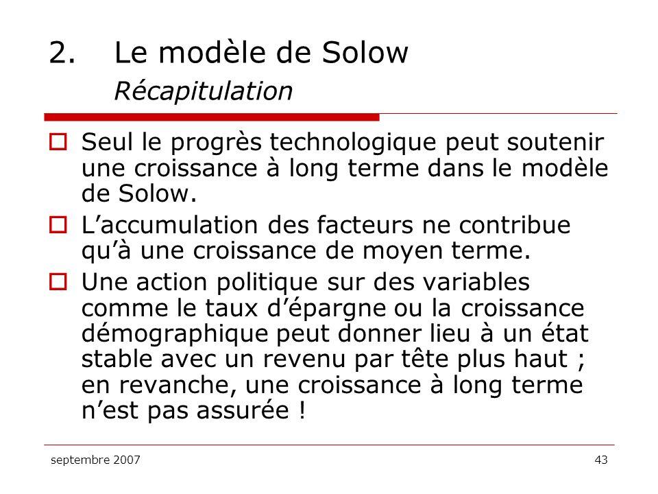 2. Le modèle de Solow Récapitulation