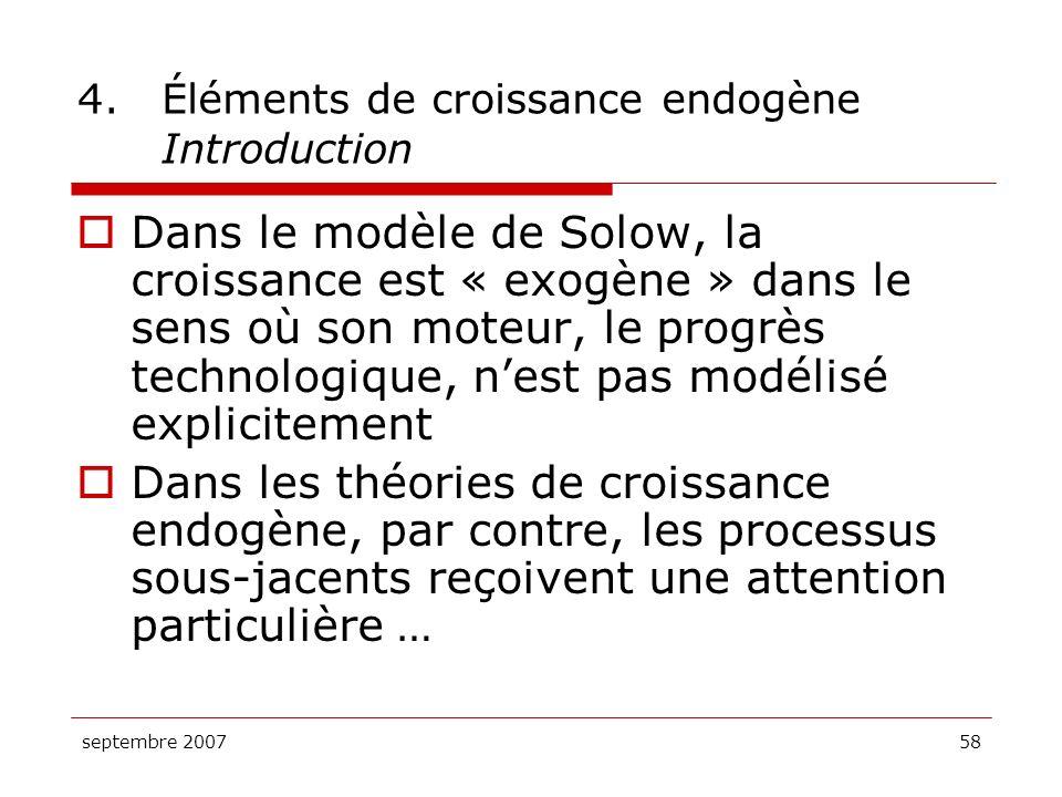 4. Éléments de croissance endogène Introduction