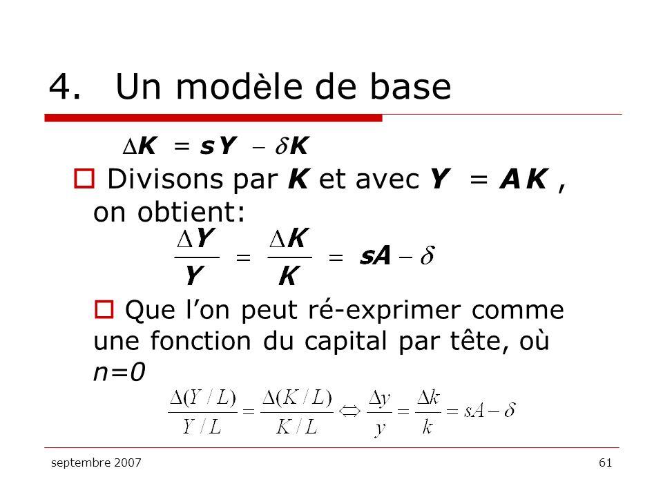 4. Un modèle de base Divisons par K et avec Y = A K , on obtient: