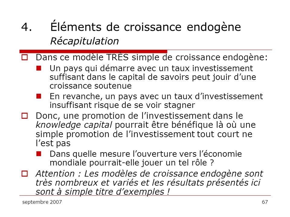 4. Éléments de croissance endogène Récapitulation