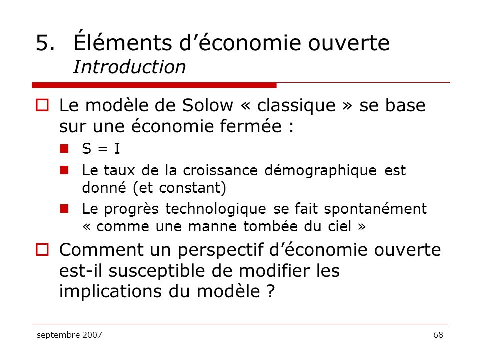 5. Éléments d'économie ouverte Introduction
