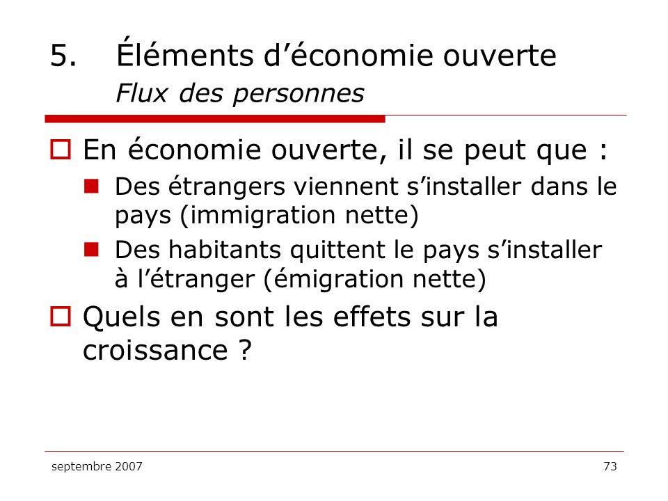 5. Éléments d'économie ouverte Flux des personnes