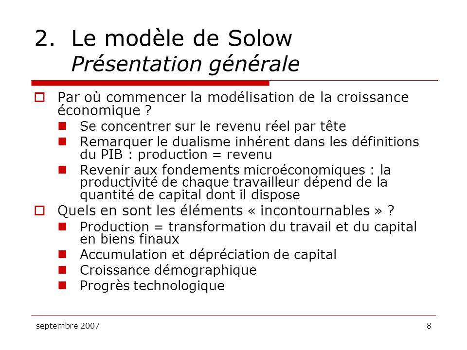 2. Le modèle de Solow Présentation générale