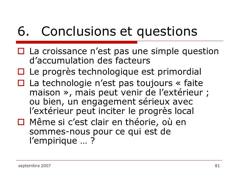6. Conclusions et questions