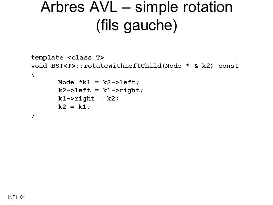 Arbres AVL – simple rotation (fils gauche)