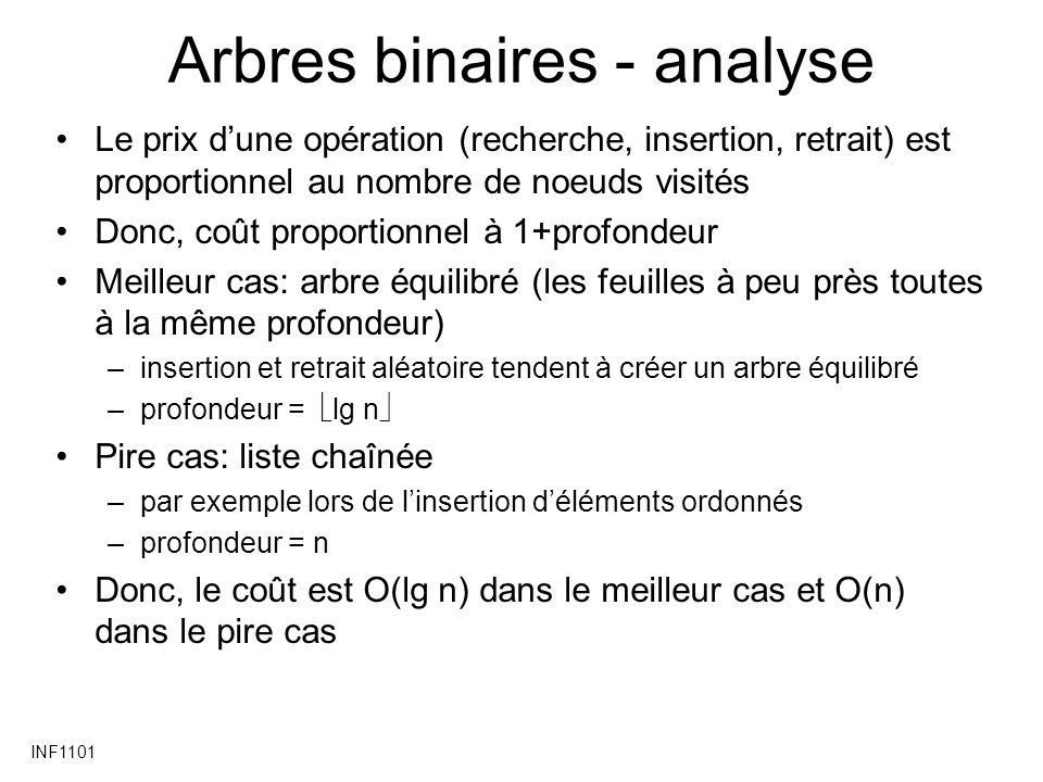 Arbres binaires - analyse