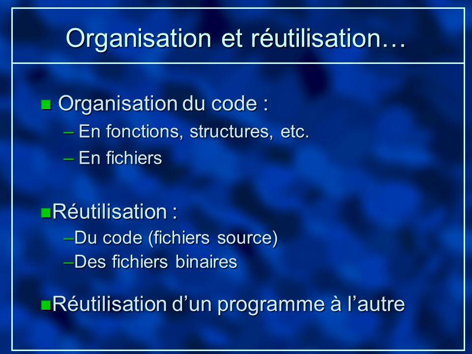 Organisation et réutilisation…