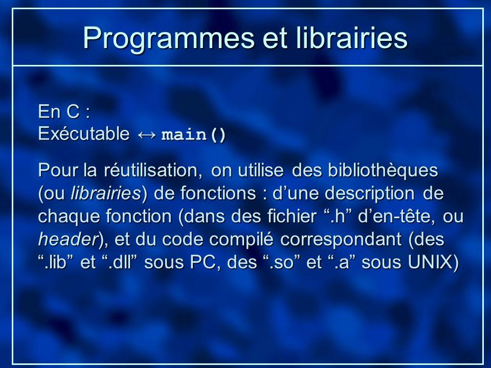 Programmes et librairies
