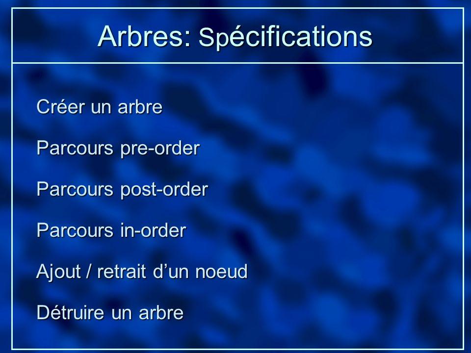 Arbres: Spécifications