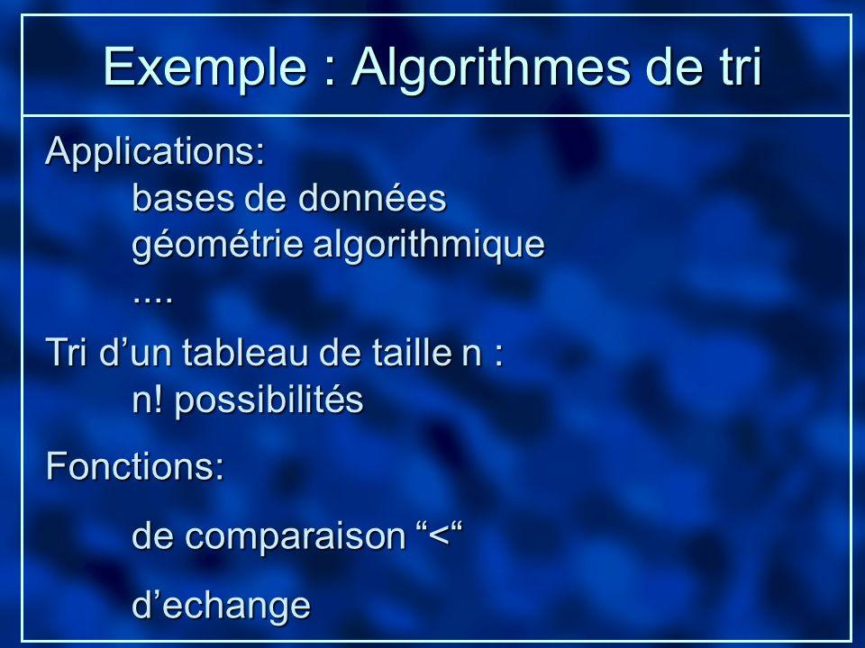 Exemple : Algorithmes de tri