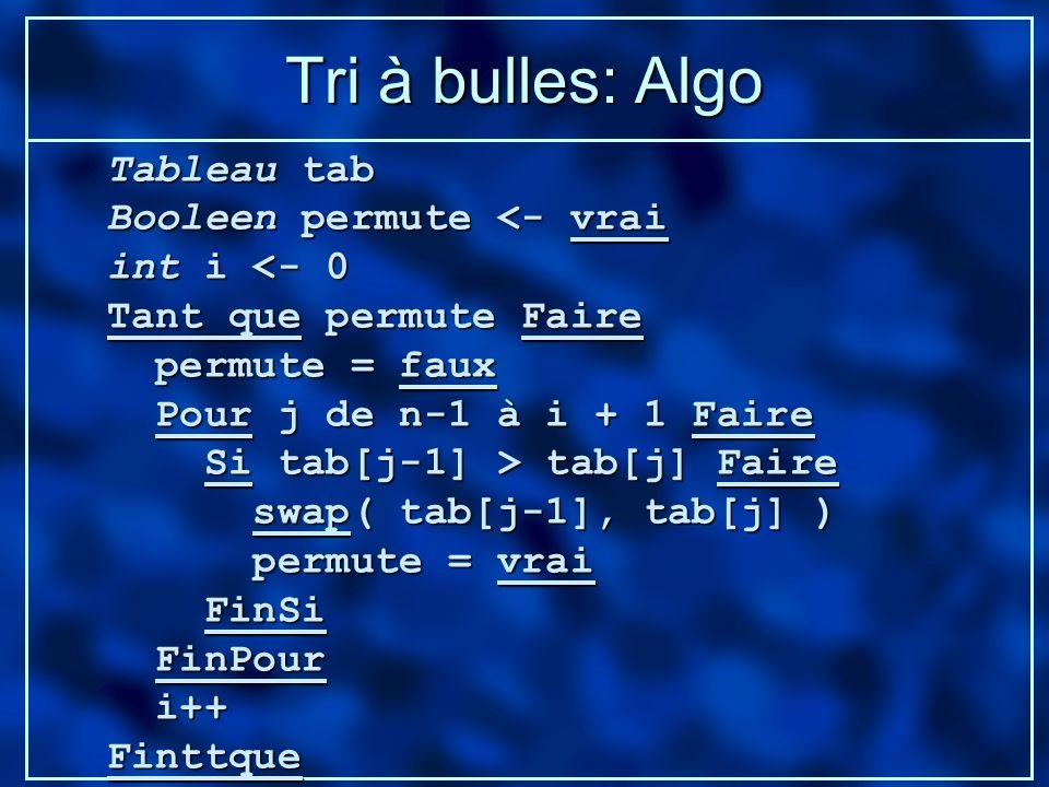 Tri à bulles: Algo Tableau tab Booleen permute <- vrai