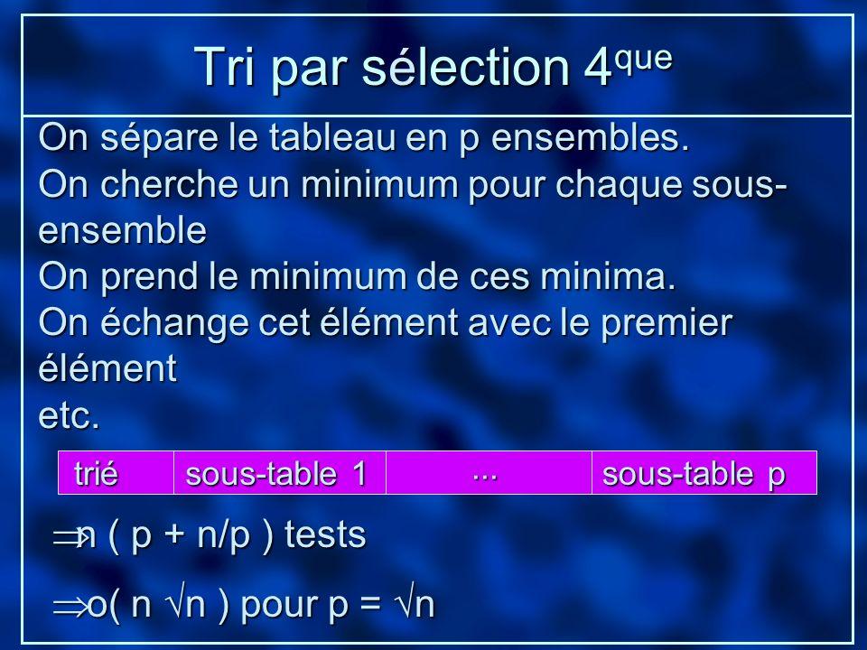 Tri par sélection 4que On sépare le tableau en p ensembles.